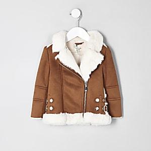 Mini girls brown faux fur aviator jacket