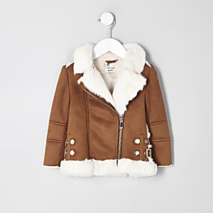 Mini girls brown faux fur aviator jacket