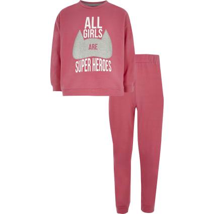 Girls pink 'Superheroes' pyjama set
