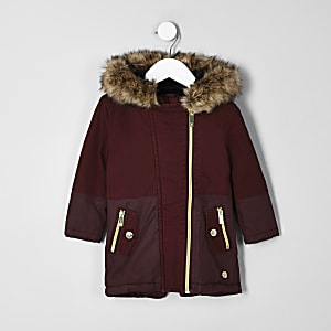 Mini girls red faux fur trim parka jacket