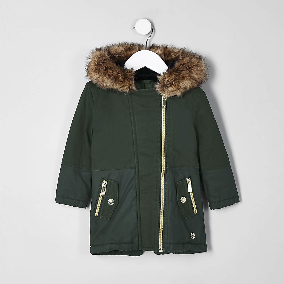 Girls mini khaki faux fur trim parka jacket
