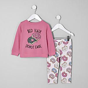 Mini - Roze pyjamaset met 'Bed hair'-print voor meisjes