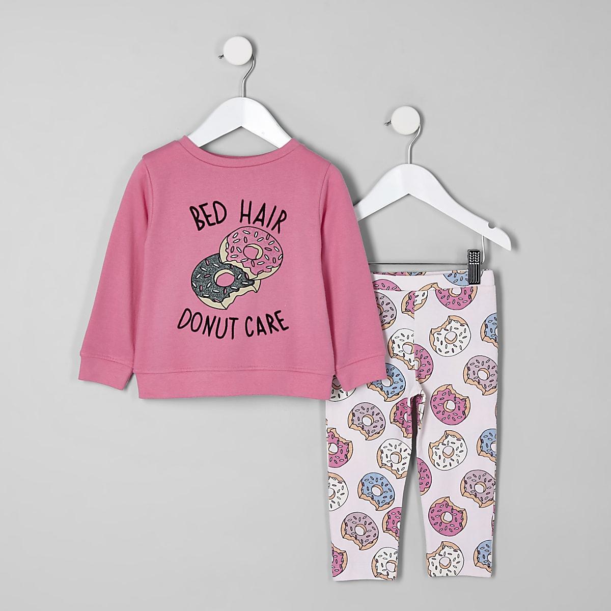 Mini girls pink 'Bed hair' pyjama set