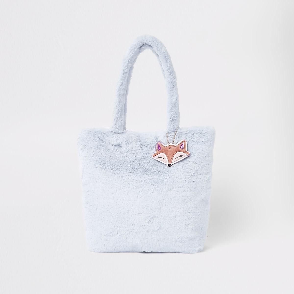 Girls blue faux fur shopper bag
