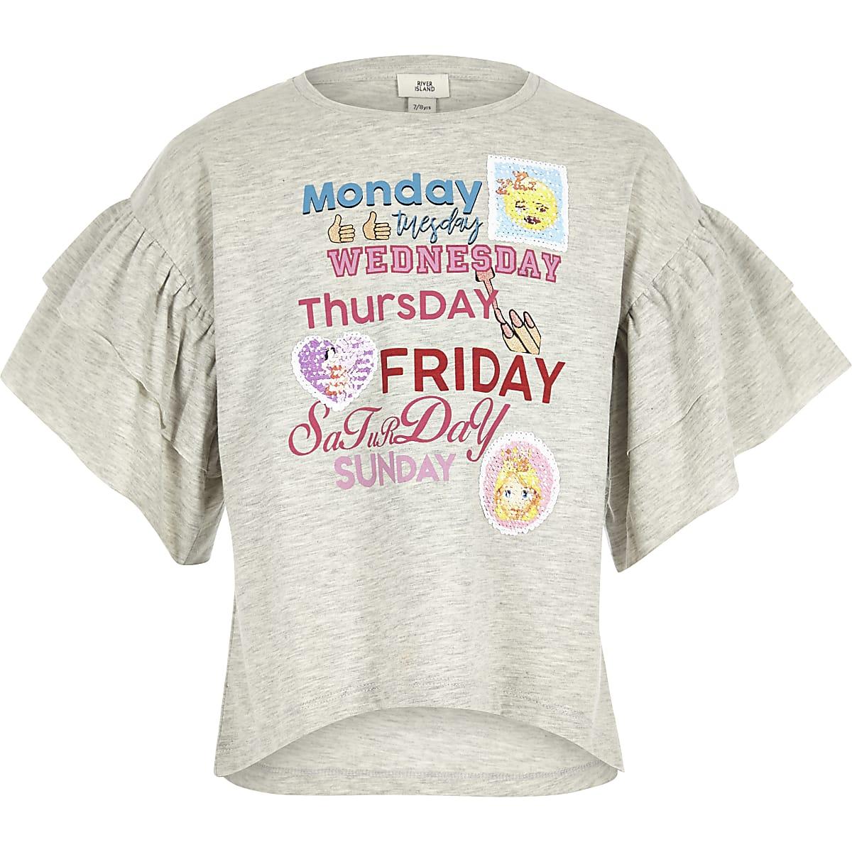 Graues T-Shirt mit Rüschenärmeln