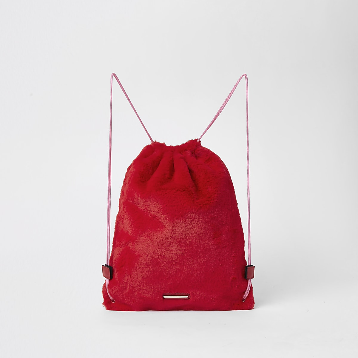 Girls red faux fur drawstring backpack