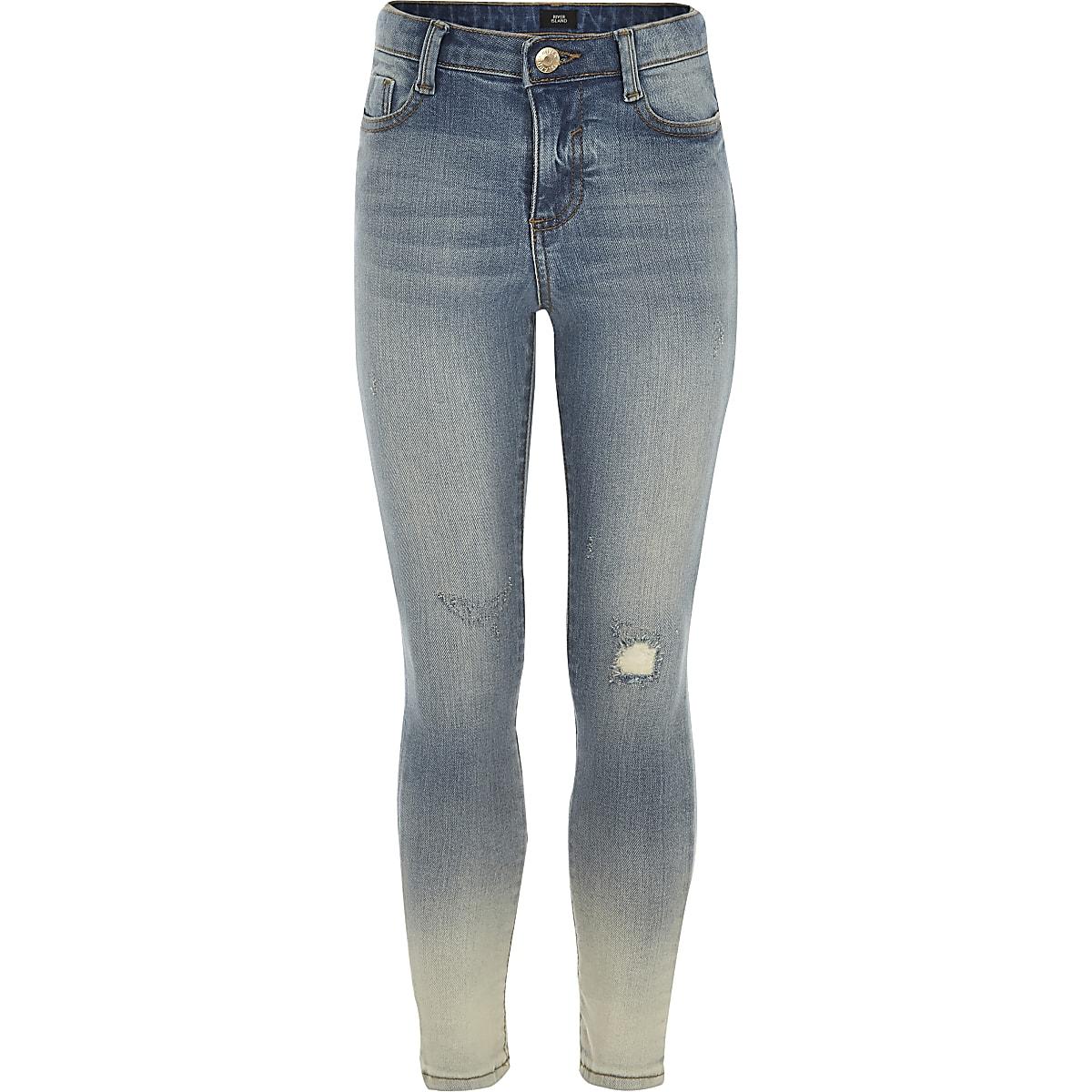Girls Amelie dip dye distressed jeans