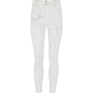 Amelie - Witte versierde jeans voor meisjes