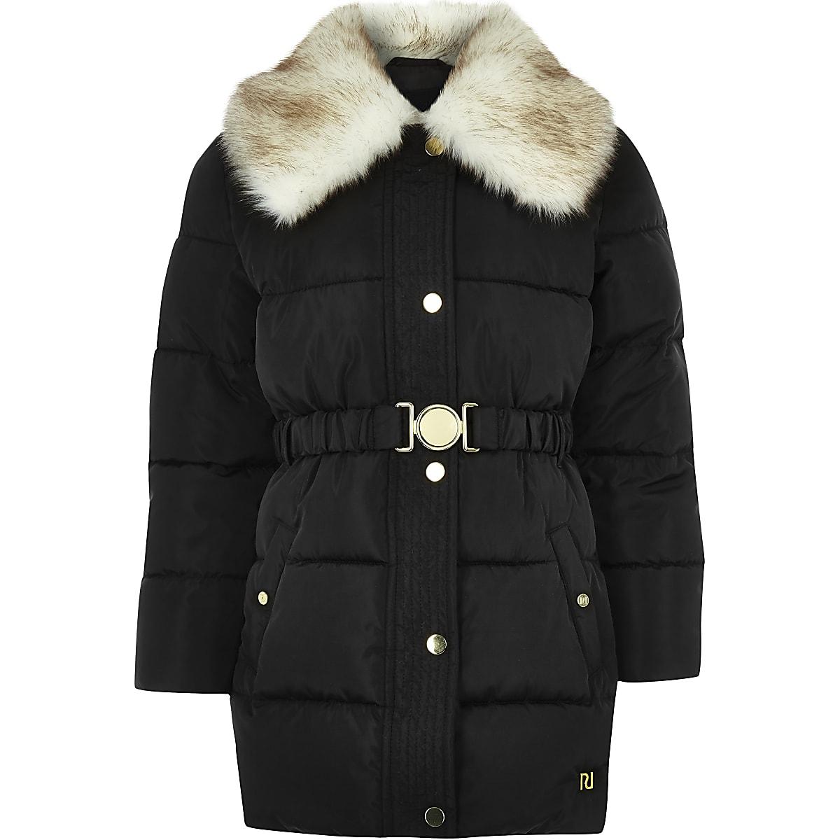 Girls black faux fur collar belted coat