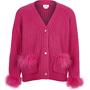 Girls pink feather trim knit cardigan