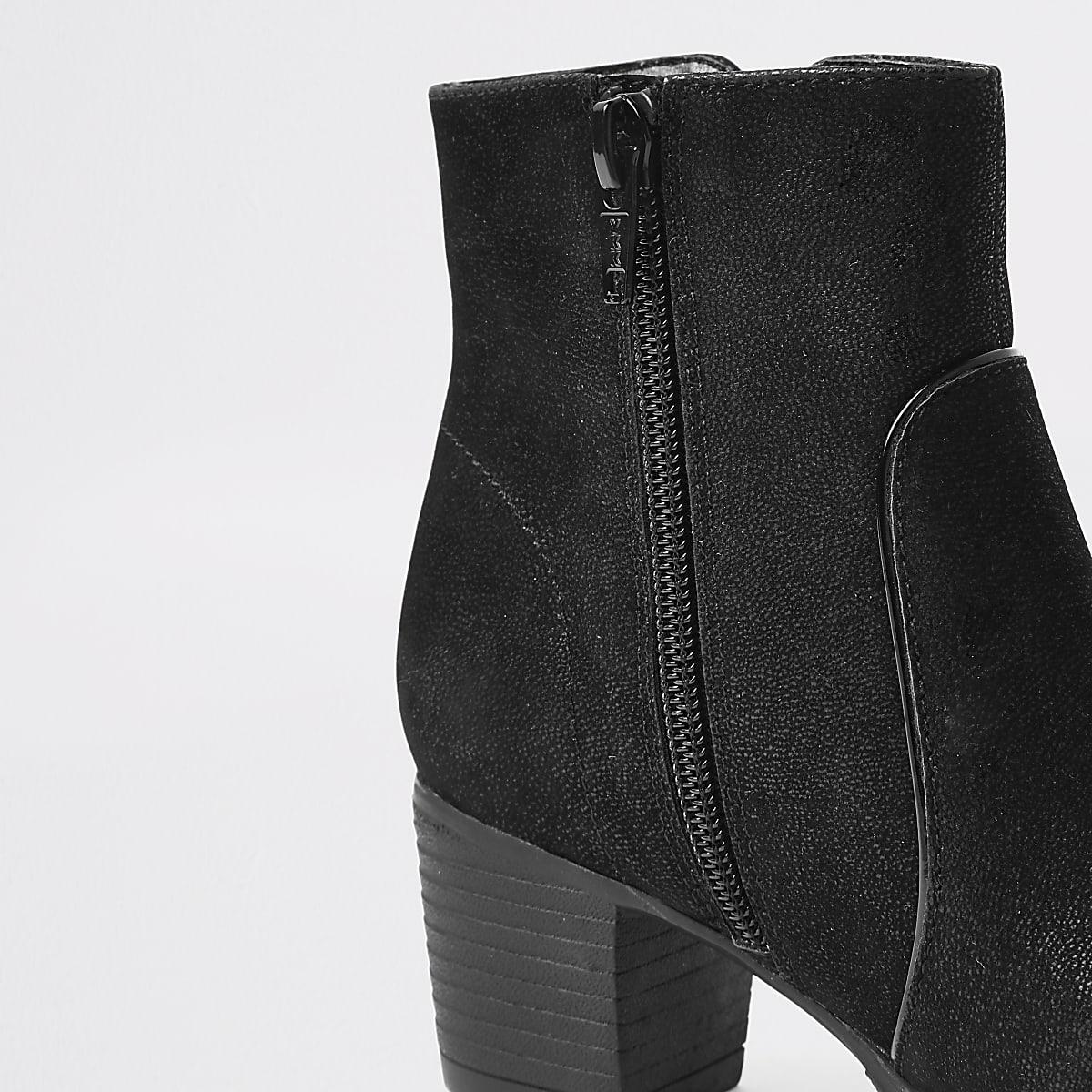 a58db1b2367 Girls black zip detail heeled boots