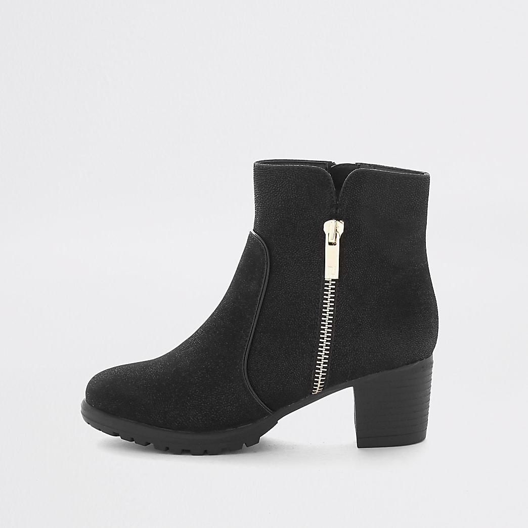 Girls black zip detail heeled boots