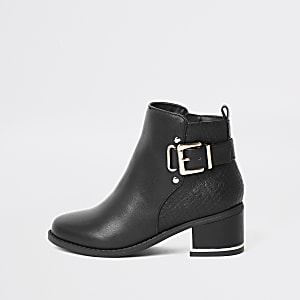 Girls black buckle heeled boots