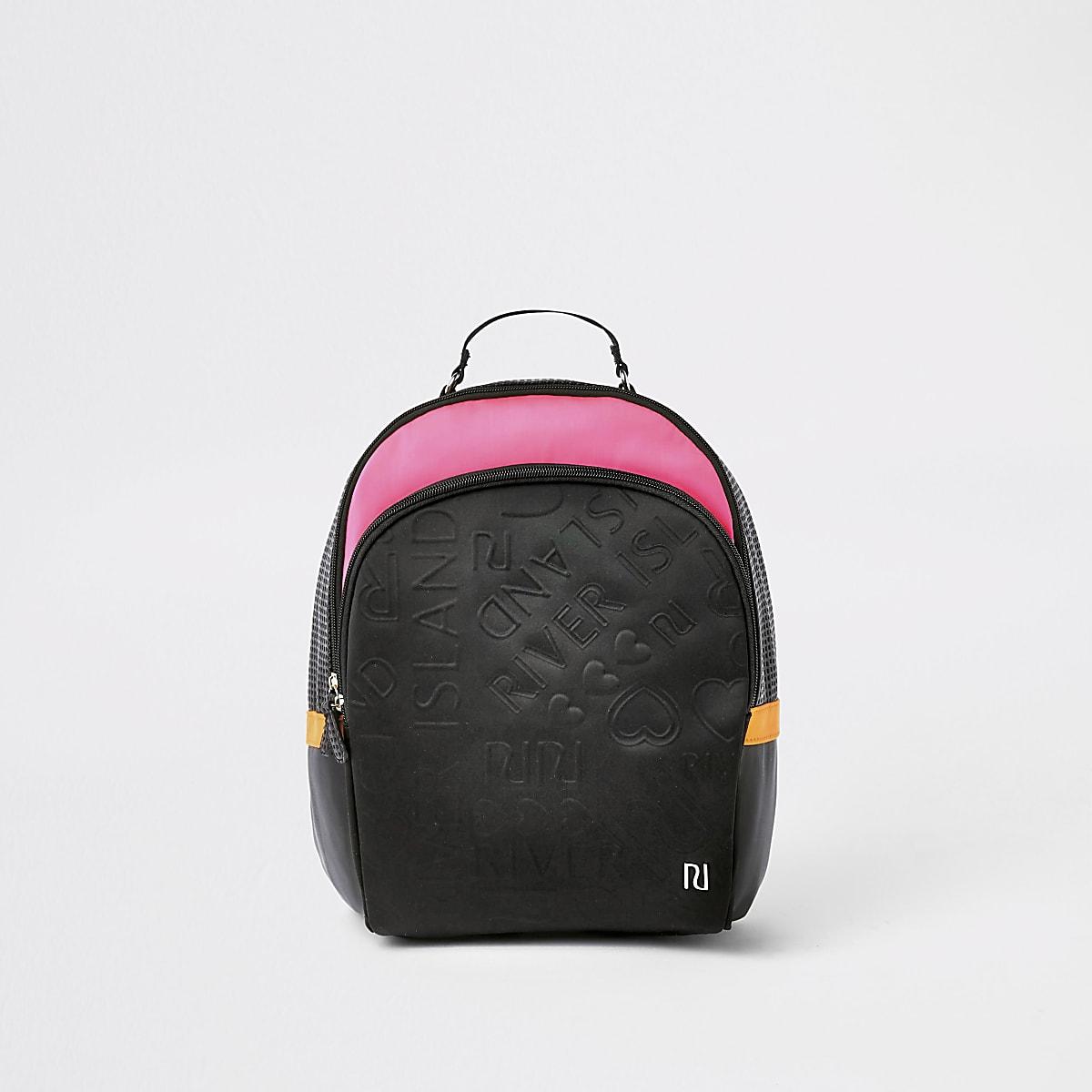 Girls black and pink RI monogram backpack