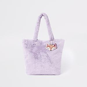 Girls purple faux fur shopper bag