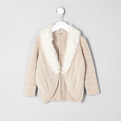 Mini girls beige cable knit faux fur cardigan