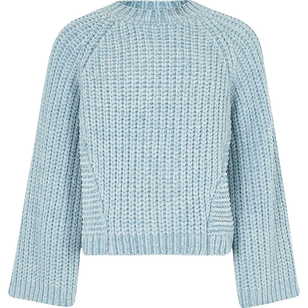 Witte Gehaakte Trui.Blauwe Gebreide Chenille Trui Voor Meisjes Vesten Pullovers