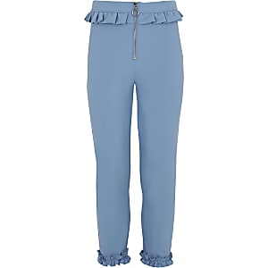 Girls blue frill zip cigarette pants