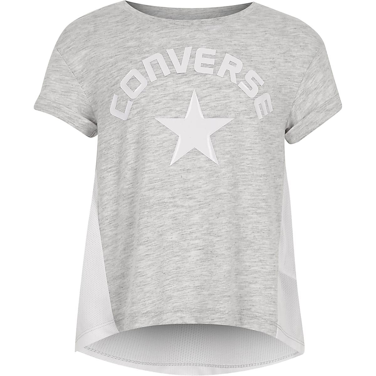 Converse – T-shirt gris style rock pour fille