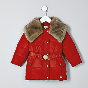 Mini girls red faux fur collar belted coat