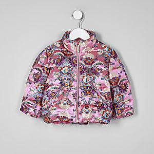 Doudoune en jacquard rose mini fille