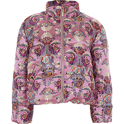Girls pink jacquard puffer jacket
