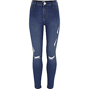 Molly – Blaue Jeggings im Used-Look