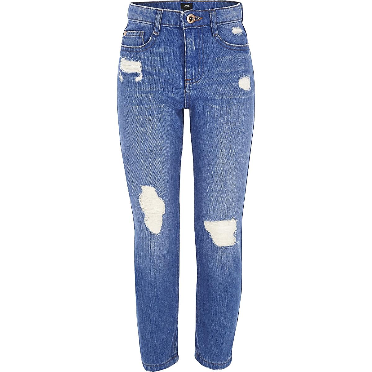 Girls blue Bella ripped straight leg jeans