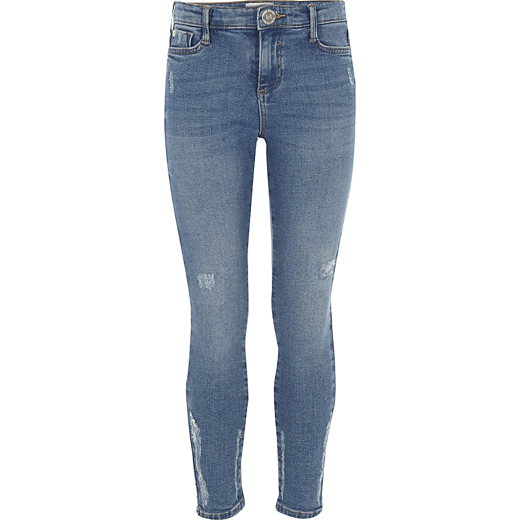 Girls blue wash Amelie distressed jeans