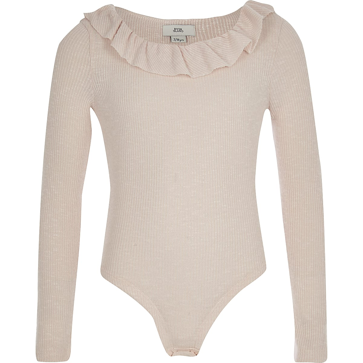 Girls light pink ribbed frill neck body