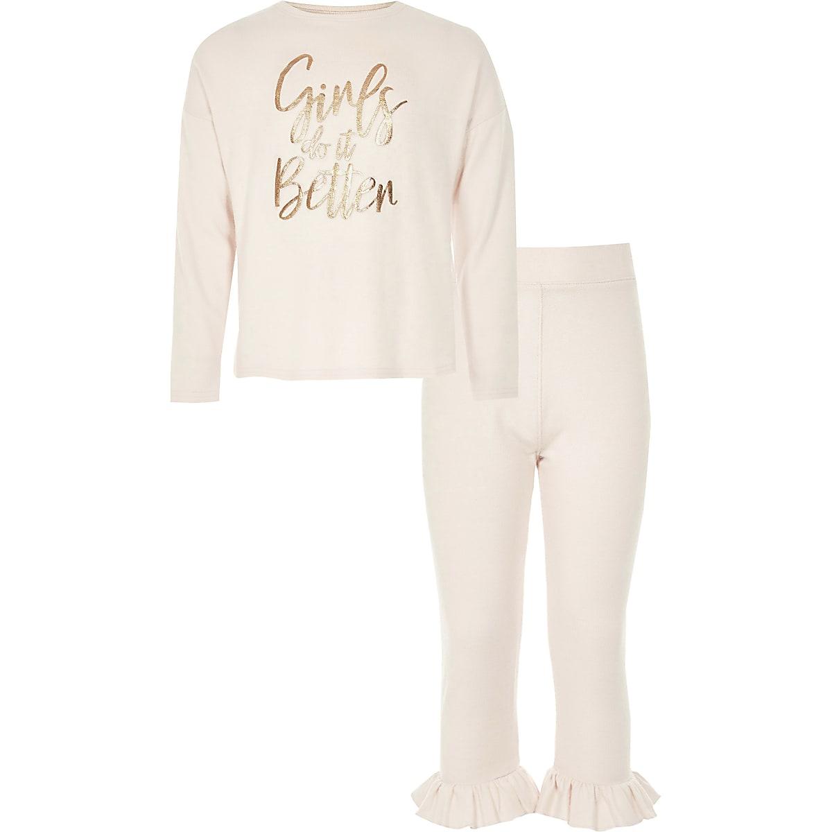 Roze pyjamaset met 'girls do it better'-print voor meisjes