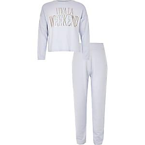Girls blue 'Viva la weekend' pyjama set