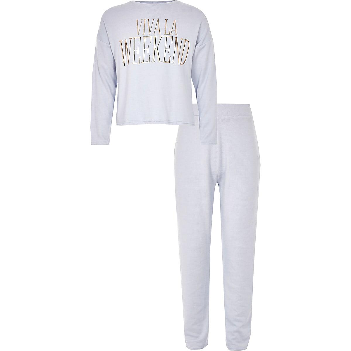 Girls blue 'Viva la weekend' pajama set