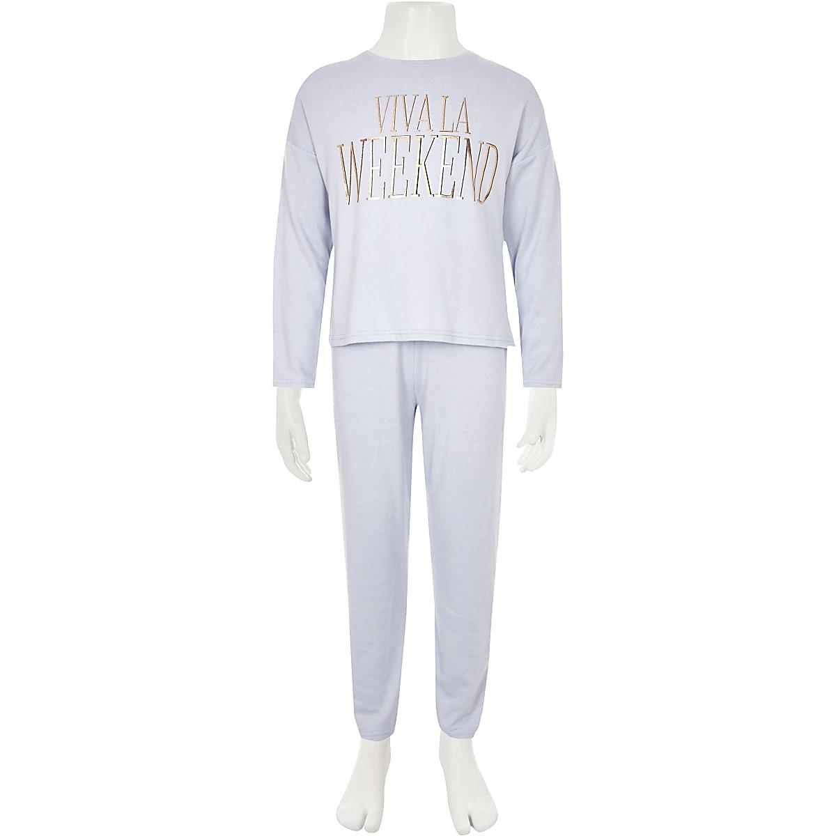 44638763f Girls blue 'Viva la weekend' pyjama set - Pyjamas & Underwear - girls