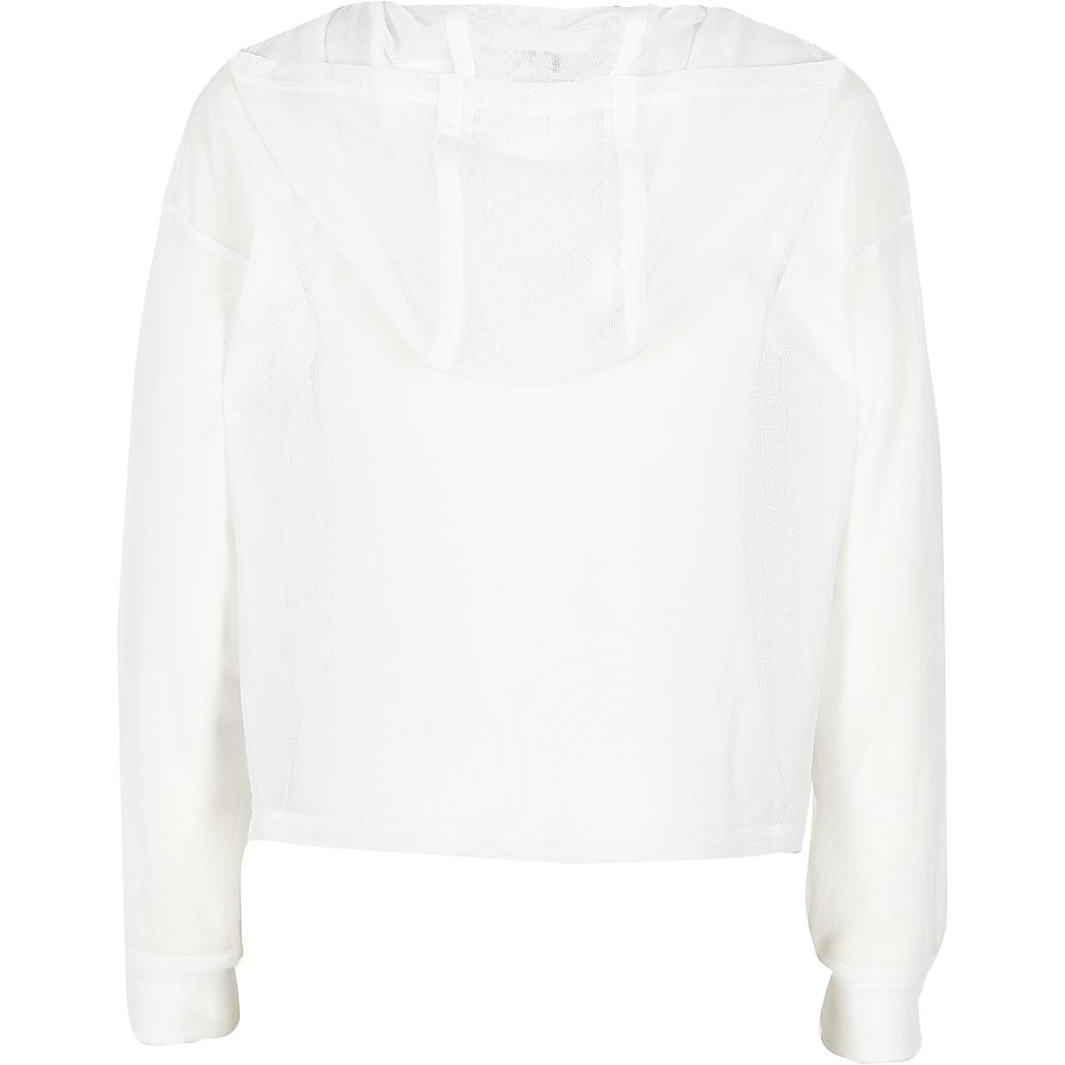 ab70c35621dfe Girls white mesh  Girl hero  cropped hoodie - Hoodies   Sweatshirts ...
