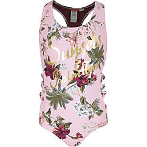 Roze gebloemd zwempak met 'sunsets'-print en strik opzij voor meisjes