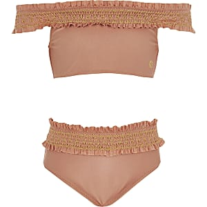 5f42ac8edcaae Girls orange bardot bikini set. Girls pink shirred bardot bikini