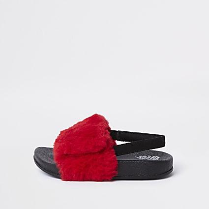 Mini girls faux fur slider