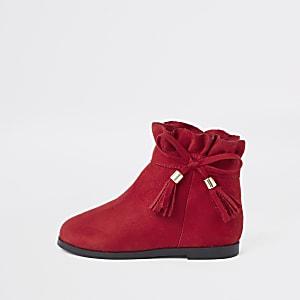 Mini - Rode laarsjes met strik en plooirand voor meisjes