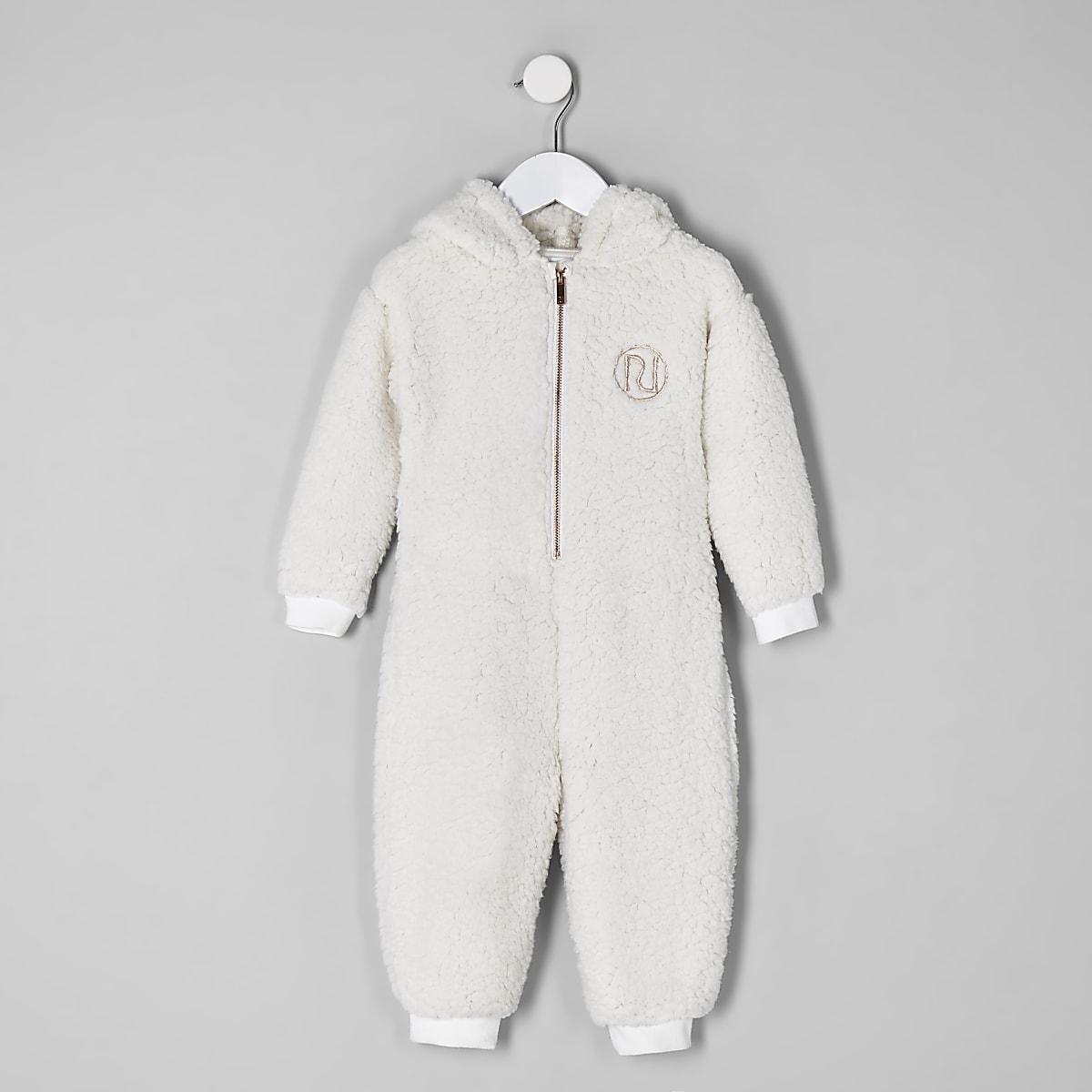 Mini - Crème onesie met borg en 'Amour'-print voor meisjes