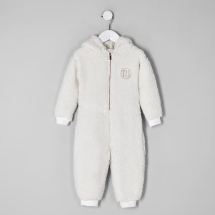 Mini girls cream borg 'amour' onesie
