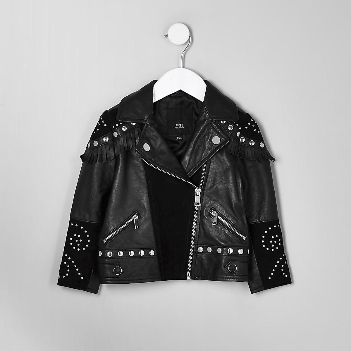 RI 30 mini girls black studded biker jacket