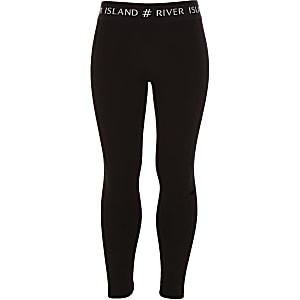 Zwarte legging met tailleband met RI-logo voor meisjes