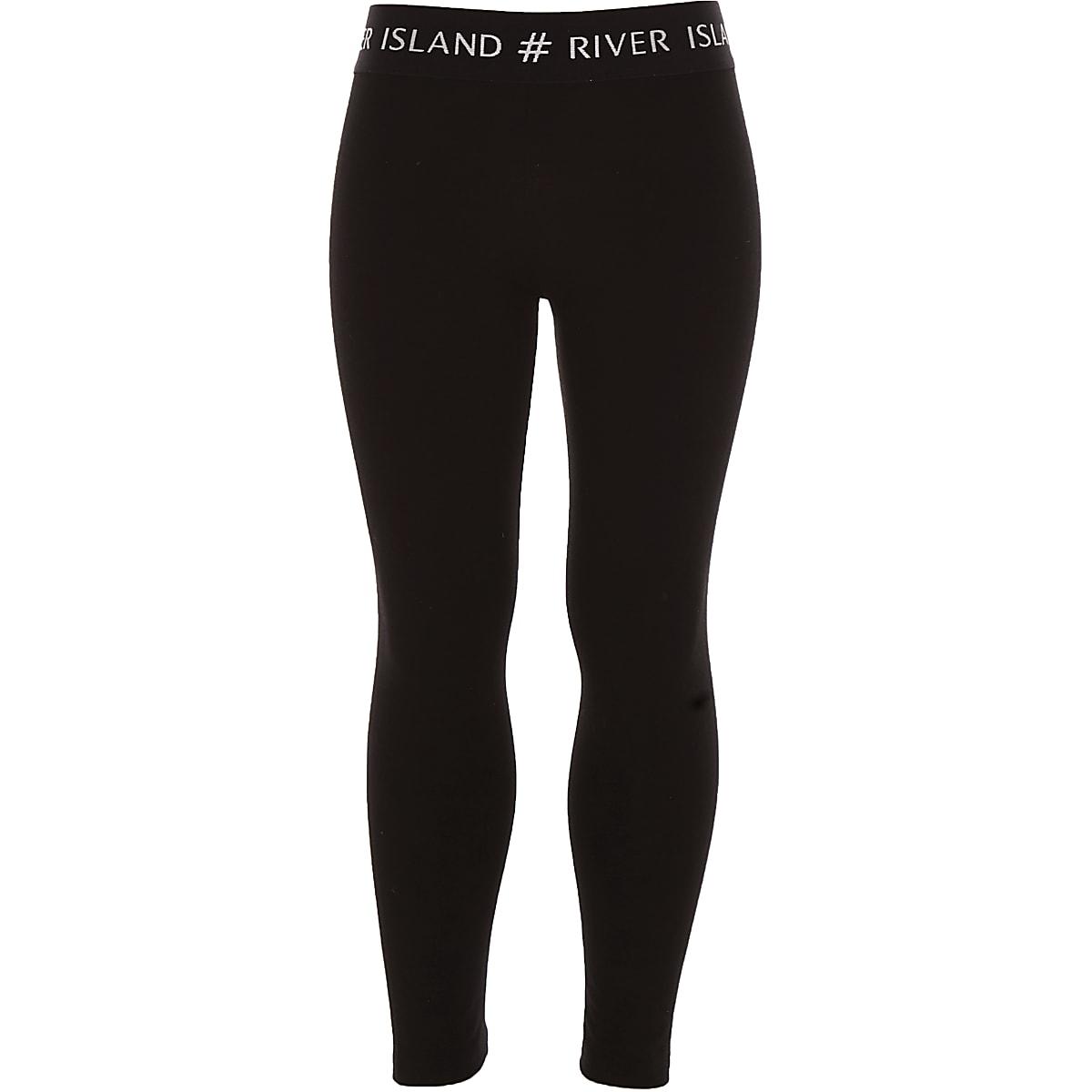 Girls black #RI waistband leggings