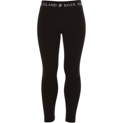 Girls black #RI waistband leggings