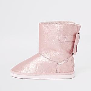 Girls metallic faux fur lined boot