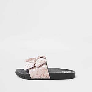 Girls pink velvet bow sliders