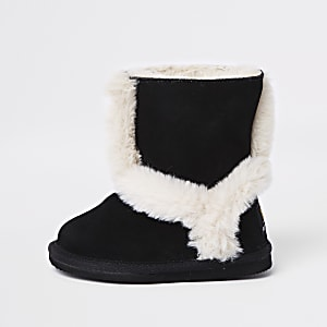 Mini girls black suede fur lined ankle boots