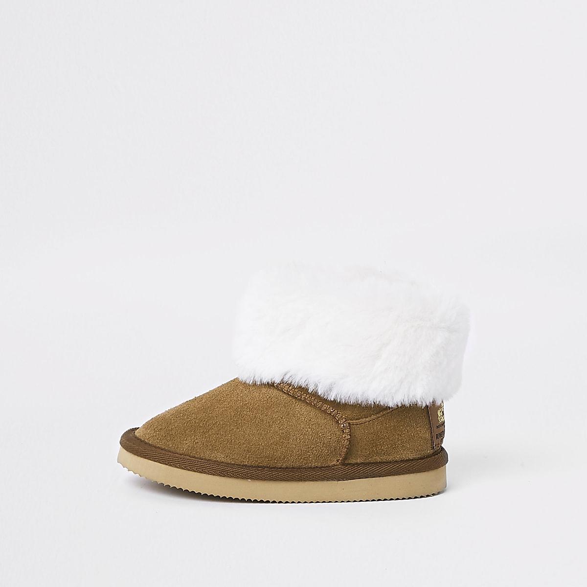 Mini girls light brown faux fur ankle boot