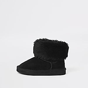 Mini girls black faux fur mini ankle boot
